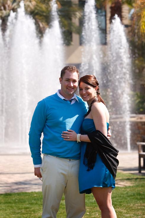 Meghan and David at the fountain behind Tommy Bahamas Restaurant