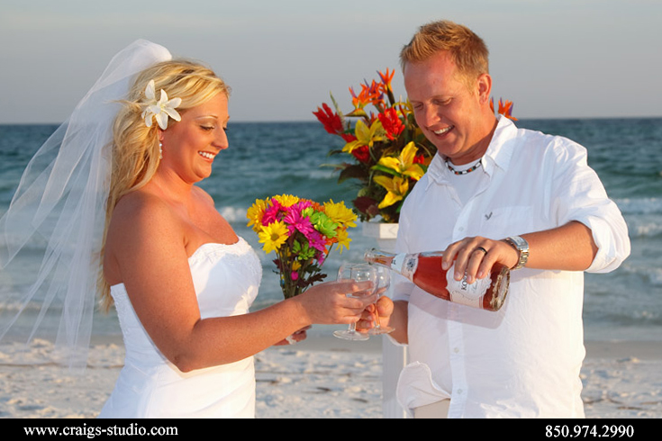 Brian and Brenda had a toast for each other right on the beach