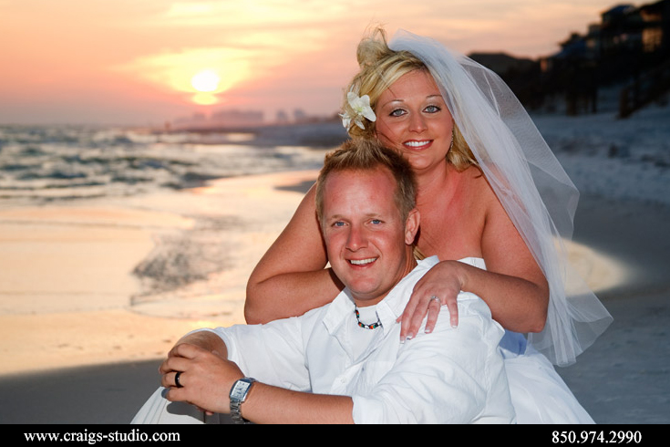 Brenda and Brian had a beautiful sunset for their wedding portrait