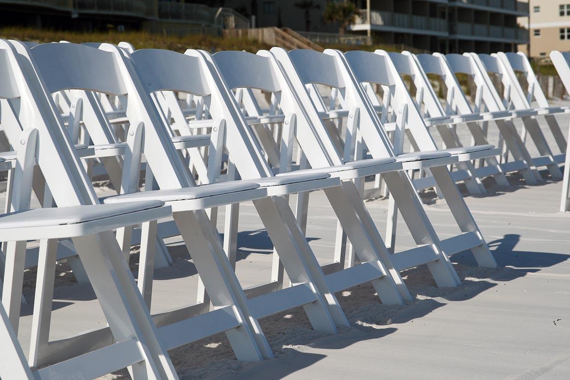 White beach wedding chairs