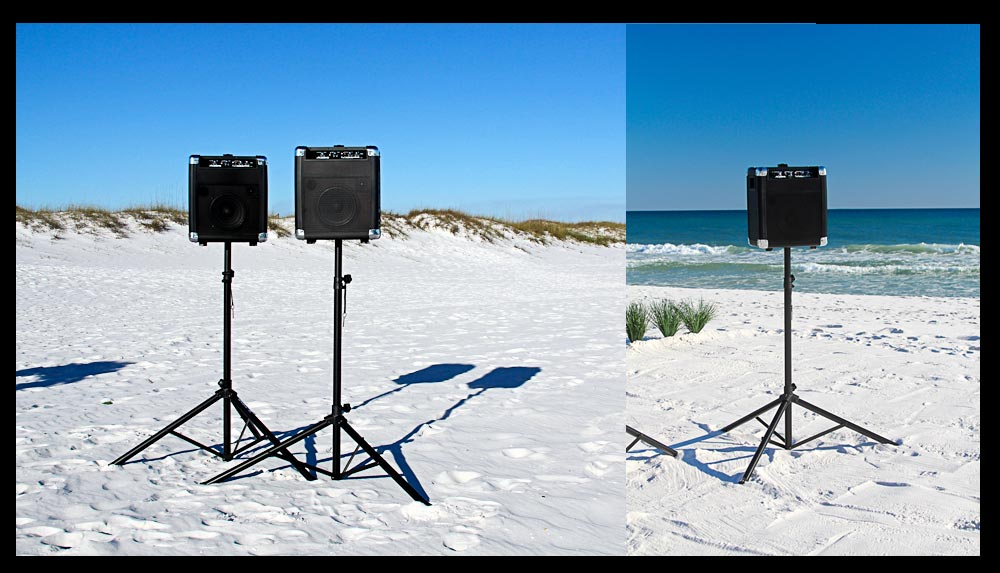 Self powered beach wedding speakers